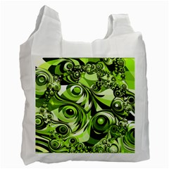 Retro Green Abstract White Reusable Bag (two Sides) by StuffOrSomething