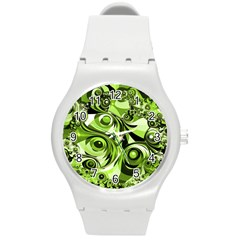 Retro Green Abstract Plastic Sport Watch (medium) by StuffOrSomething
