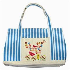 Butterfly Beauty Blue Striped Tote Bag by StuffOrSomething