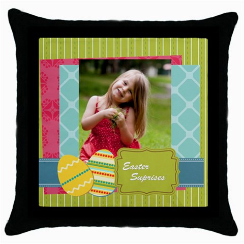 Easter By Easter   Throw Pillow Case (black)   A6dwo7micee6   Www Artscow Com Front