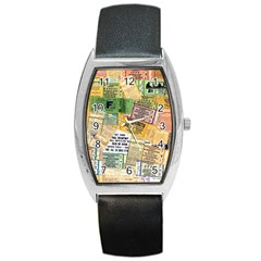 Retro Concert Tickets Tonneau Leather Watch by StuffOrSomething