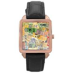 Retro Concert Tickets Rose Gold Leather Watch  by StuffOrSomething