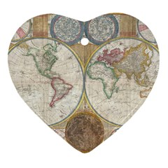 1794 World Map Heart Ornament (two Sides) by StuffOrSomething