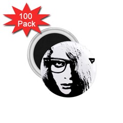 Hipster Zombie Girl 1 75  Button Magnet (100 Pack) by chivieridesigns