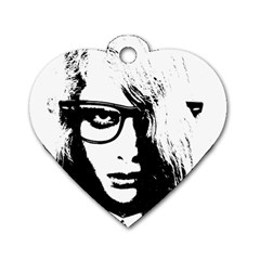 Hipster Zombie Girl Dog Tag Heart (two Sided) by chivieridesigns