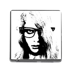 Hipster Zombie Girl Memory Card Reader With Storage (square) by chivieridesigns