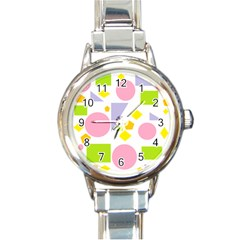 Spring Geometrics Round Italian Charm Watch by StuffOrSomething