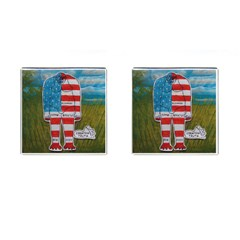 Painted Flag Big Foot Homo Erec Cufflinks (square) by creationtruth