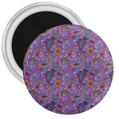 Purple Paisley 3  Button Magnet by StuffOrSomething