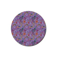 Purple Paisley Drink Coaster (round) by StuffOrSomething