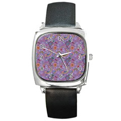 Purple Paisley Square Leather Watch by StuffOrSomething