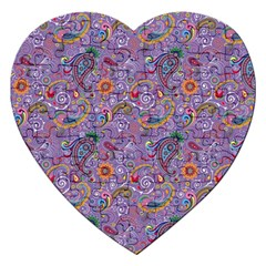 Purple Paisley Jigsaw Puzzle (heart) by StuffOrSomething
