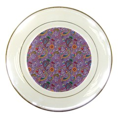 Purple Paisley Porcelain Display Plate by StuffOrSomething