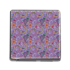 Purple Paisley Memory Card Reader With Storage (square) by StuffOrSomething