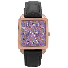 Purple Paisley Rose Gold Leather Watch  by StuffOrSomething