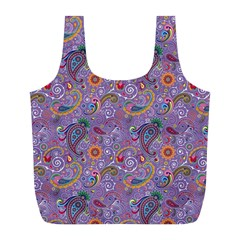 Purple Paisley Reusable Bag (l) by StuffOrSomething