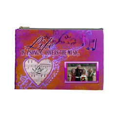 Love Song Large Cosmetic Bag By Joy Johns   Cosmetic Bag (large)   Kcvxwhtbhukb   Www Artscow Com Front