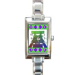Mine Rectangular Italian Charm Watch by Siebenhuehner