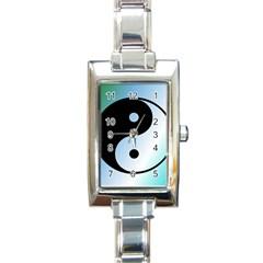 Ying Yang  Rectangular Italian Charm Watch by Siebenhuehner