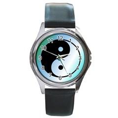 Ying Yang  Round Leather Watch (silver Rim) by Siebenhuehner