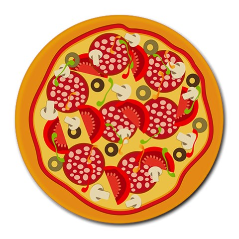 Pizza By Divad Brown   Collage Round Mousepad   Gxdw5bxugb3i   Www Artscow Com 8 x8 Round Mousepad - 1