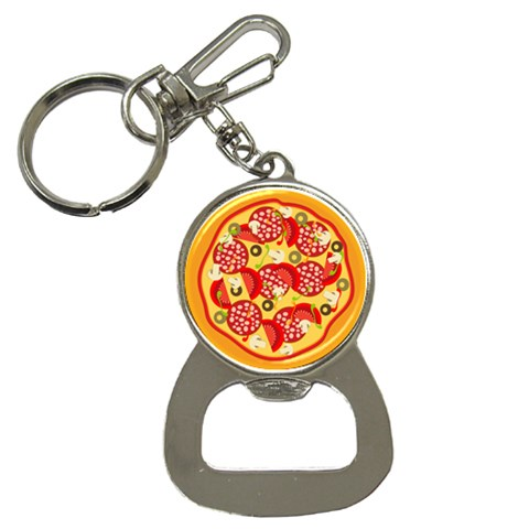 Pizza By Divad Brown   Bottle Opener Key Chain   M6r57cmzs4yl   Www Artscow Com Front