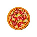pizza - Rubber Round Coaster (4 pack)