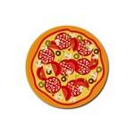 pizza - Rubber Coaster (Round)