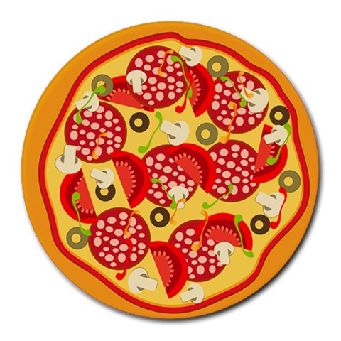 Pizza By Divad Brown   Round Mousepad   L2tosscevsrc   Www Artscow Com Front
