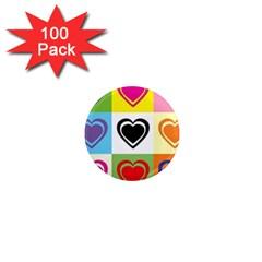 Hearts 1  Mini Button Magnet (100 Pack) by Siebenhuehner
