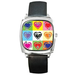Hearts Square Leather Watch by Siebenhuehner