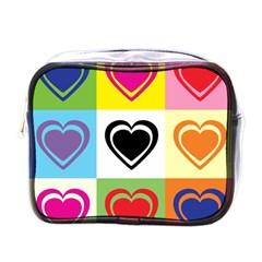 Hearts Mini Travel Toiletry Bag (one Side) by Siebenhuehner