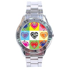 Hearts Stainless Steel Watch by Siebenhuehner