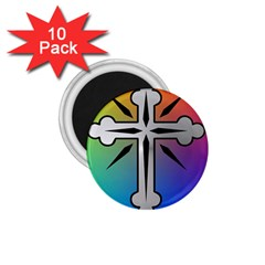 Cross 1 75  Button Magnet (10 Pack) by Siebenhuehner