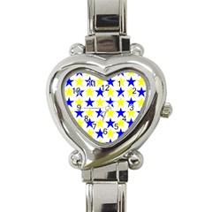 Star Heart Italian Charm Watch  by Siebenhuehner