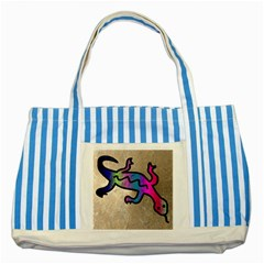 Lizard Blue Striped Tote Bag by Siebenhuehner