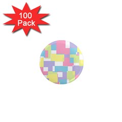 Mod Pastel Geometric 1  Mini Button Magnet (100 Pack) by StuffOrSomething