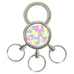 Mod Pastel Geometric 3 Ring Key Chain by StuffOrSomething