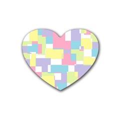 Mod Pastel Geometric Drink Coasters 4 Pack (heart)
