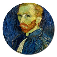 Vincent Van Gogh Self Portrait With Palette Magnet 5  (round) by MasterpiecesOfArt