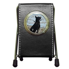 Black German Shepherd Stationery Holder Clock