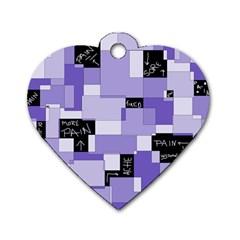 Purple Pain Modular Dog Tag Heart (one Sided)  by FunWithFibro