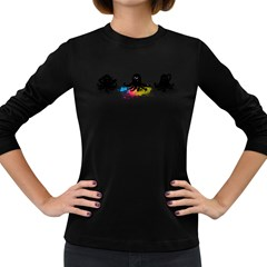 4 Color Squid Women s Long Sleeve T Shirt (dark Colored) by Contest1897106