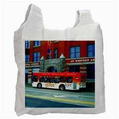 Double Decker Bus   Ave Hurley   White Reusable Bag (one Side) by ArtRave2