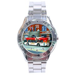 Double Decker Bus   Ave Hurley   Stainless Steel Watch by ArtRave2
