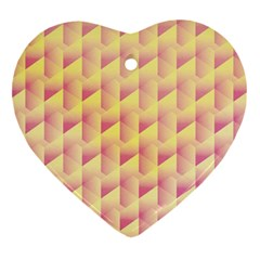 Geometric Pink & Yellow  Heart Ornament (two Sides) by Zandiepants