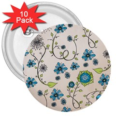 Whimsical Flowers Blue 3  Button (10 Pack) by Zandiepants