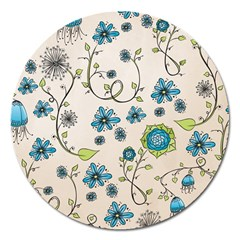 Whimsical Flowers Blue Magnet 5  (round) by Zandiepants