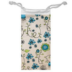 Whimsical Flowers Blue Jewelry Bag by Zandiepants