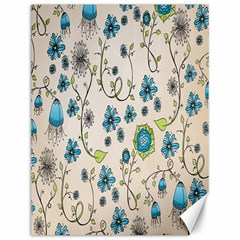 Whimsical Flowers Blue Canvas 12  X 16  (unframed) by Zandiepants